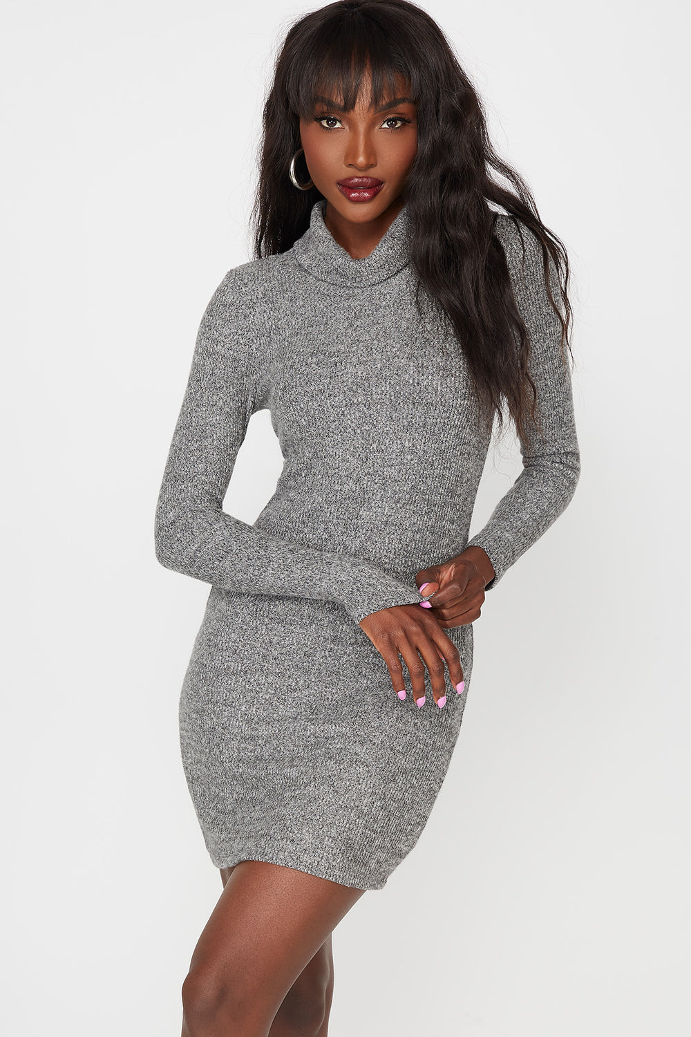 Ribbed Turtleneck Long Sleeve Bodycon Dress Heather Grey