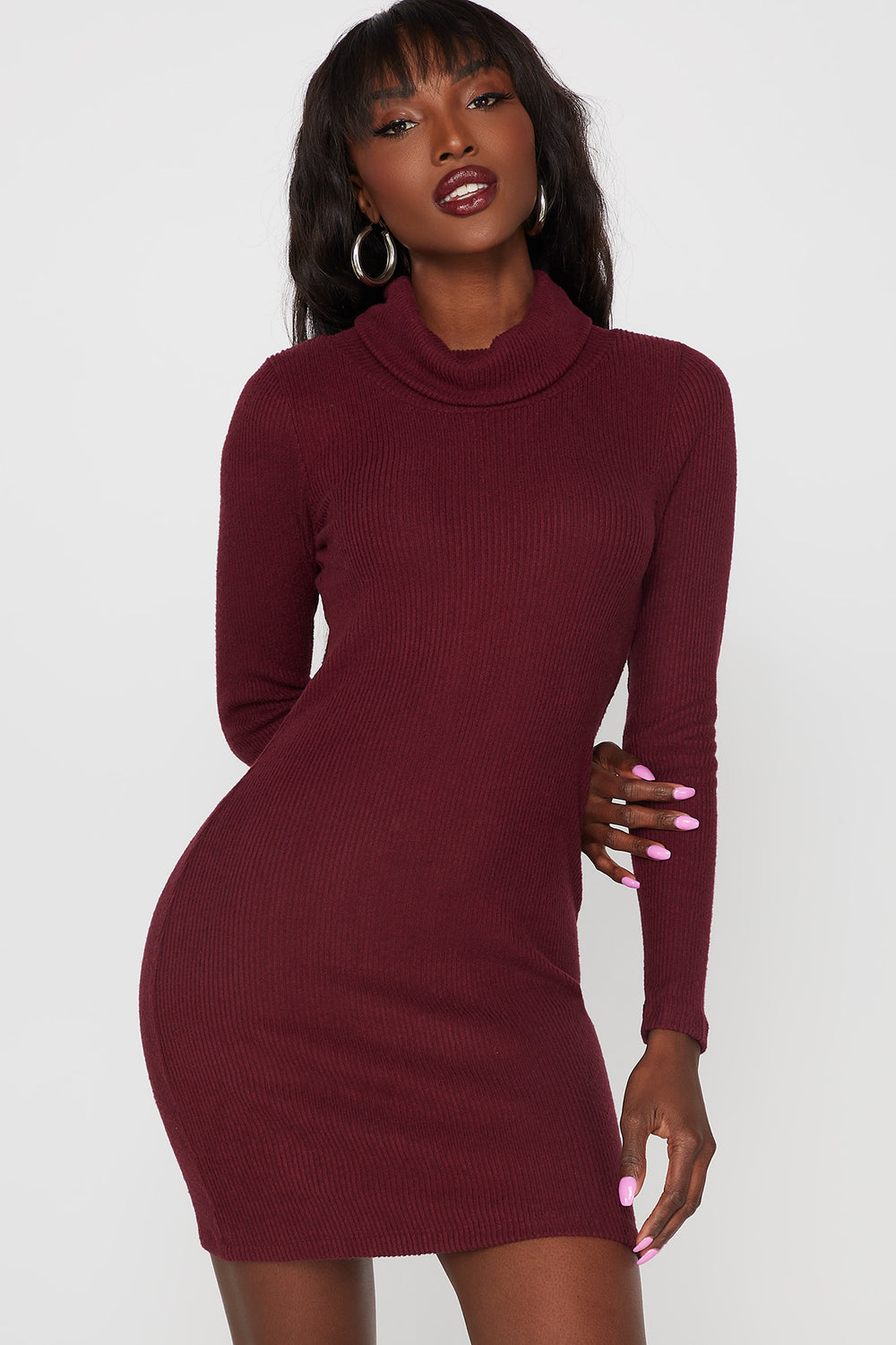 Ribbed Turtleneck Long Sleeve Bodycon Dress Burgundy