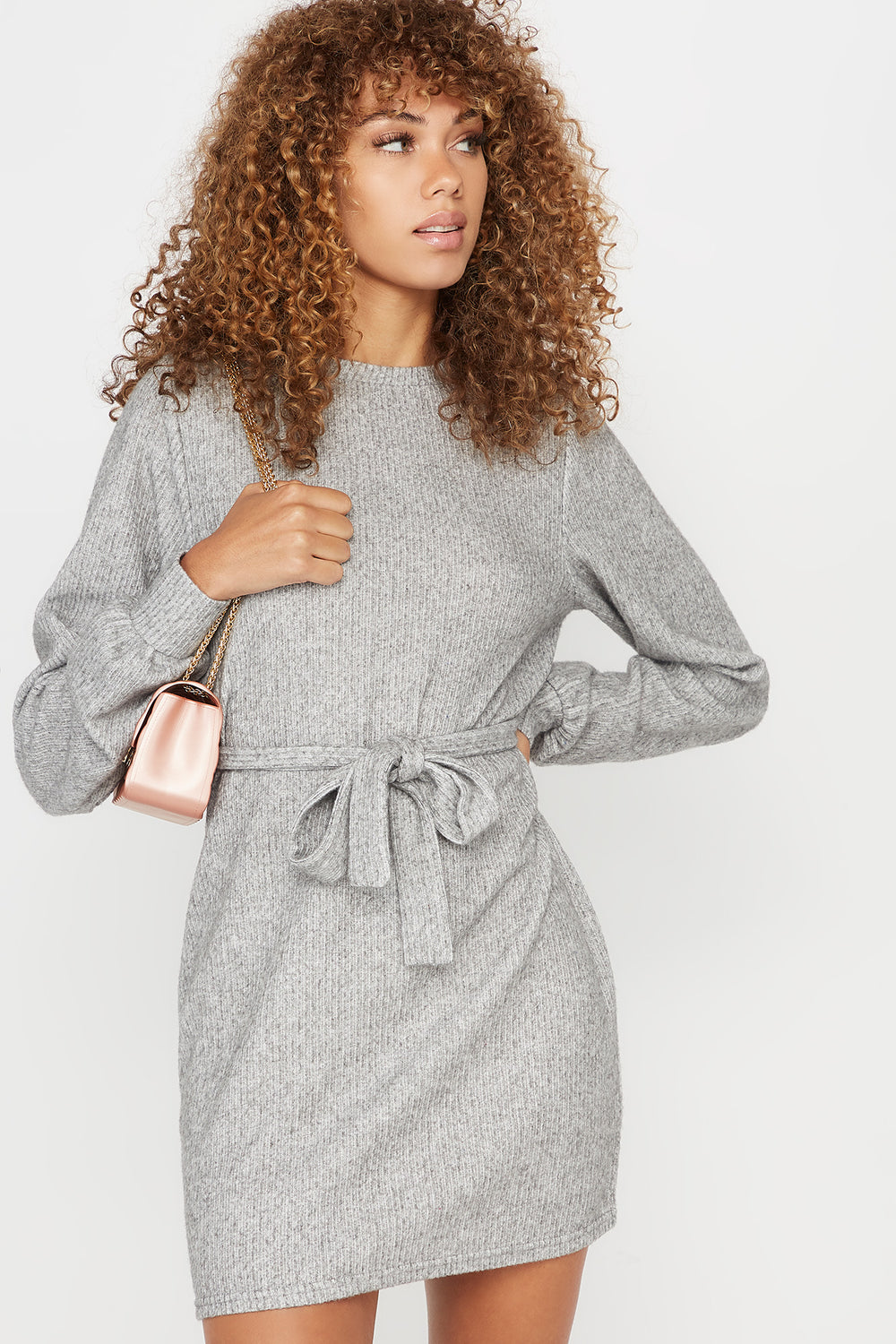 Ribbed Self Tie Crew Neck Long Sleeve Dress Heather Grey