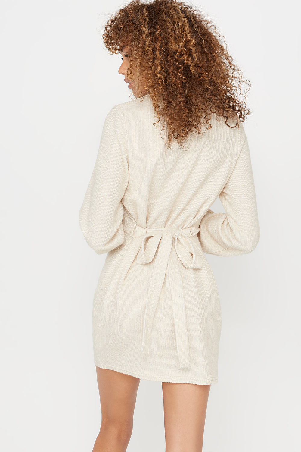Ribbed Self Tie Crew Neck Long Sleeve Dress Oatmeal