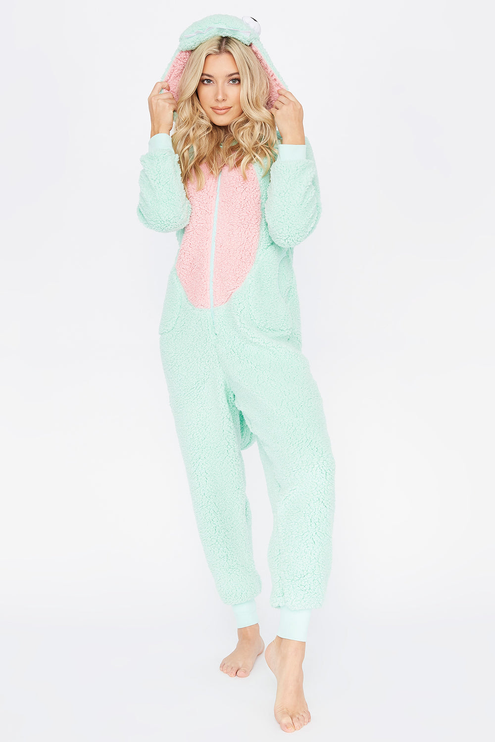 Soft Sherpa Dinosaur Zip-Up Onesie Aqua