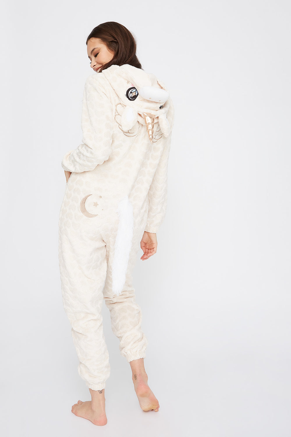 Soft Glitter Heart Printed Unicorn Zip-Up Onesie Rose