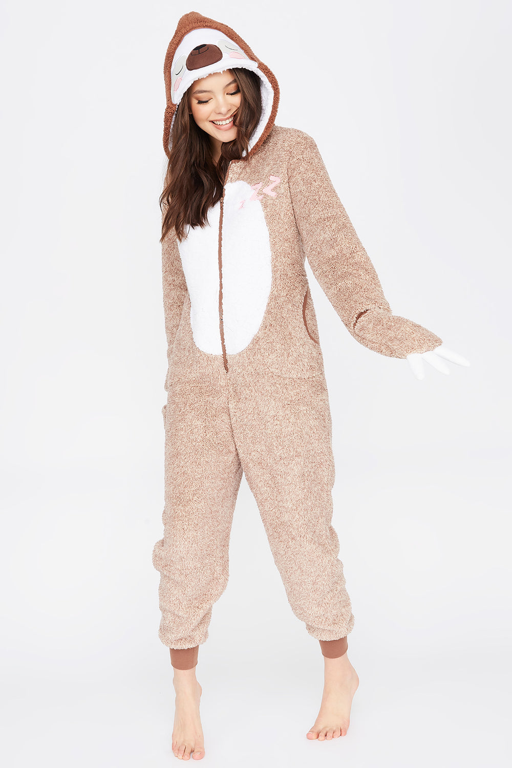 Soft Sloth Zip-Up Onesie Brown