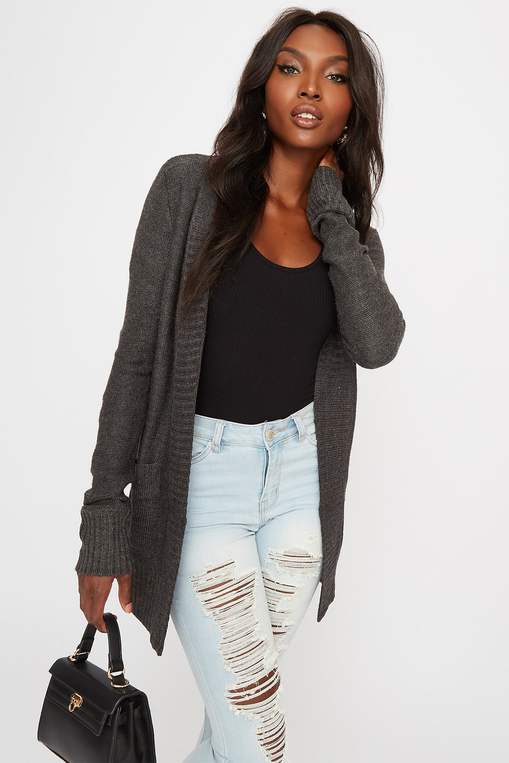 Border Open-Front Cardigan Charcoal