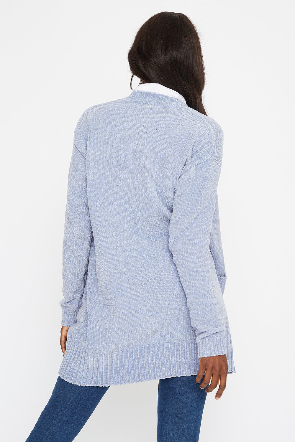 Chenille Longline Cardigan Light Blue