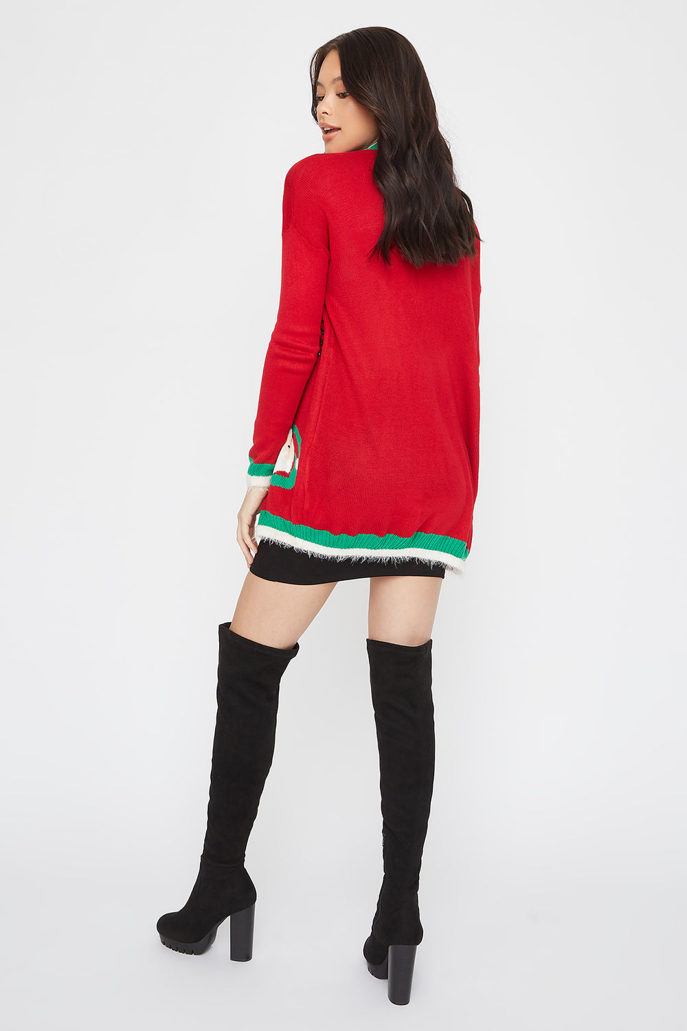 Jingle Bells Graphic Christmas Cardigan Red