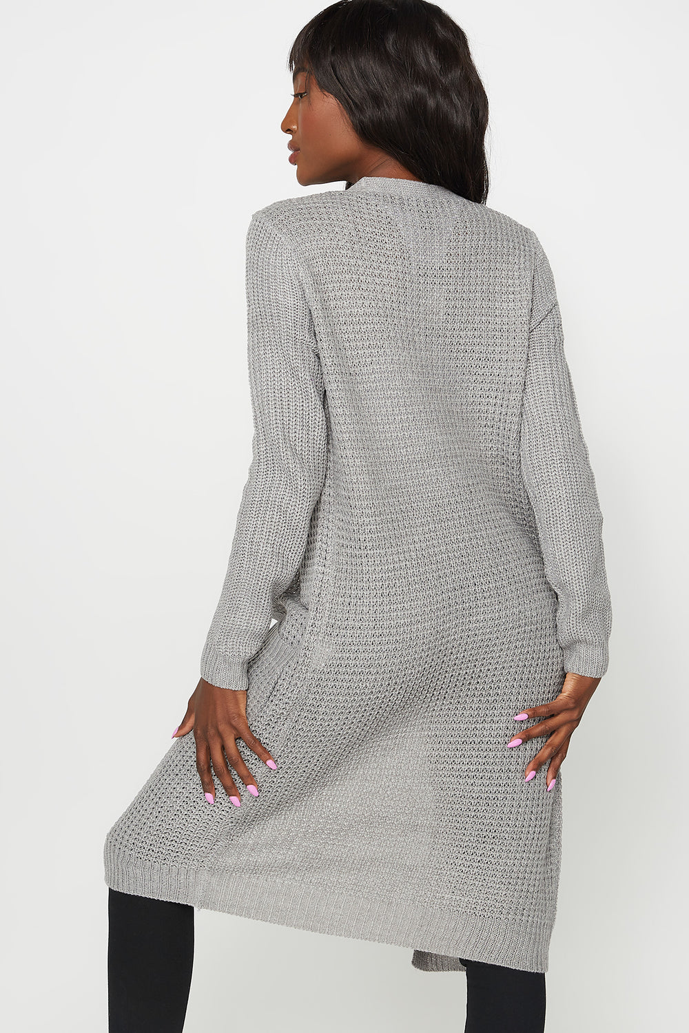 Waffle Knit Longline Open Front Duster Cardigan Heather Grey