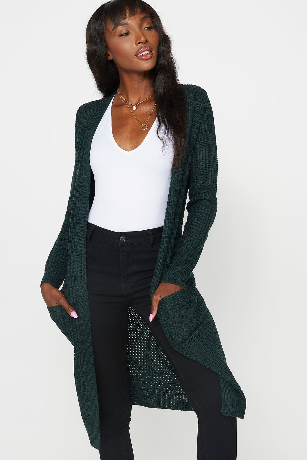 Waffle Knit Longline Open Front Duster Cardigan Hunter Green