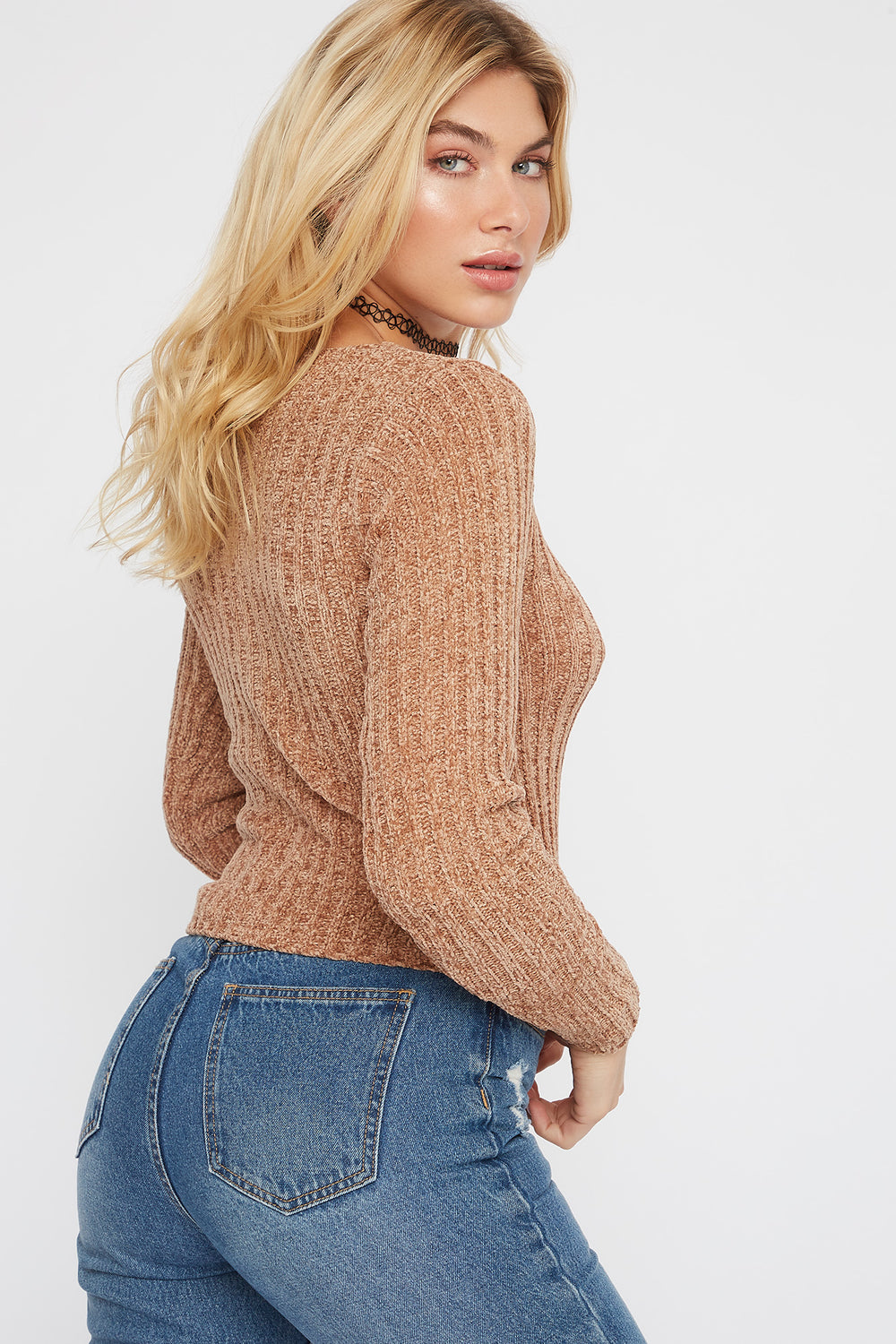 Chenille Button-Up Cardigan Sweater Tan
