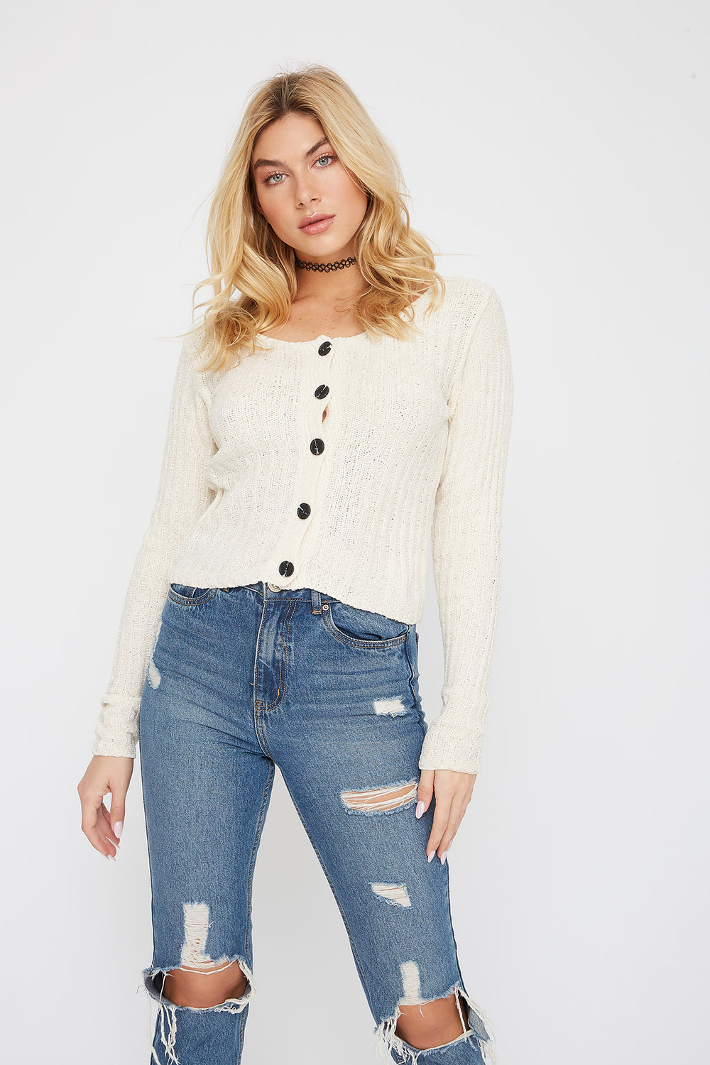 Chenille Button-Up Cardigan Sweater Ivory