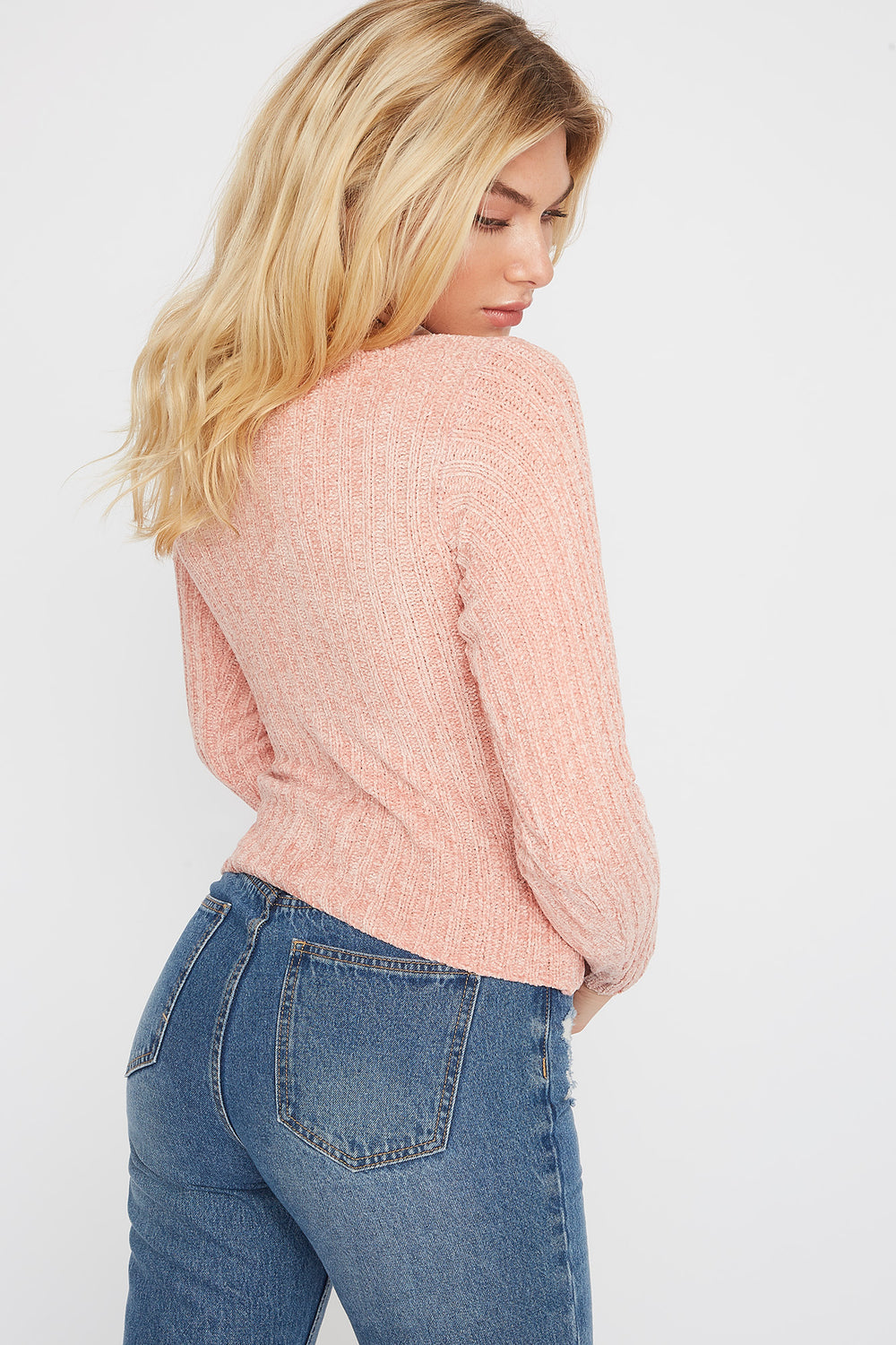 Chenille Button-Up Cardigan Sweater Pink