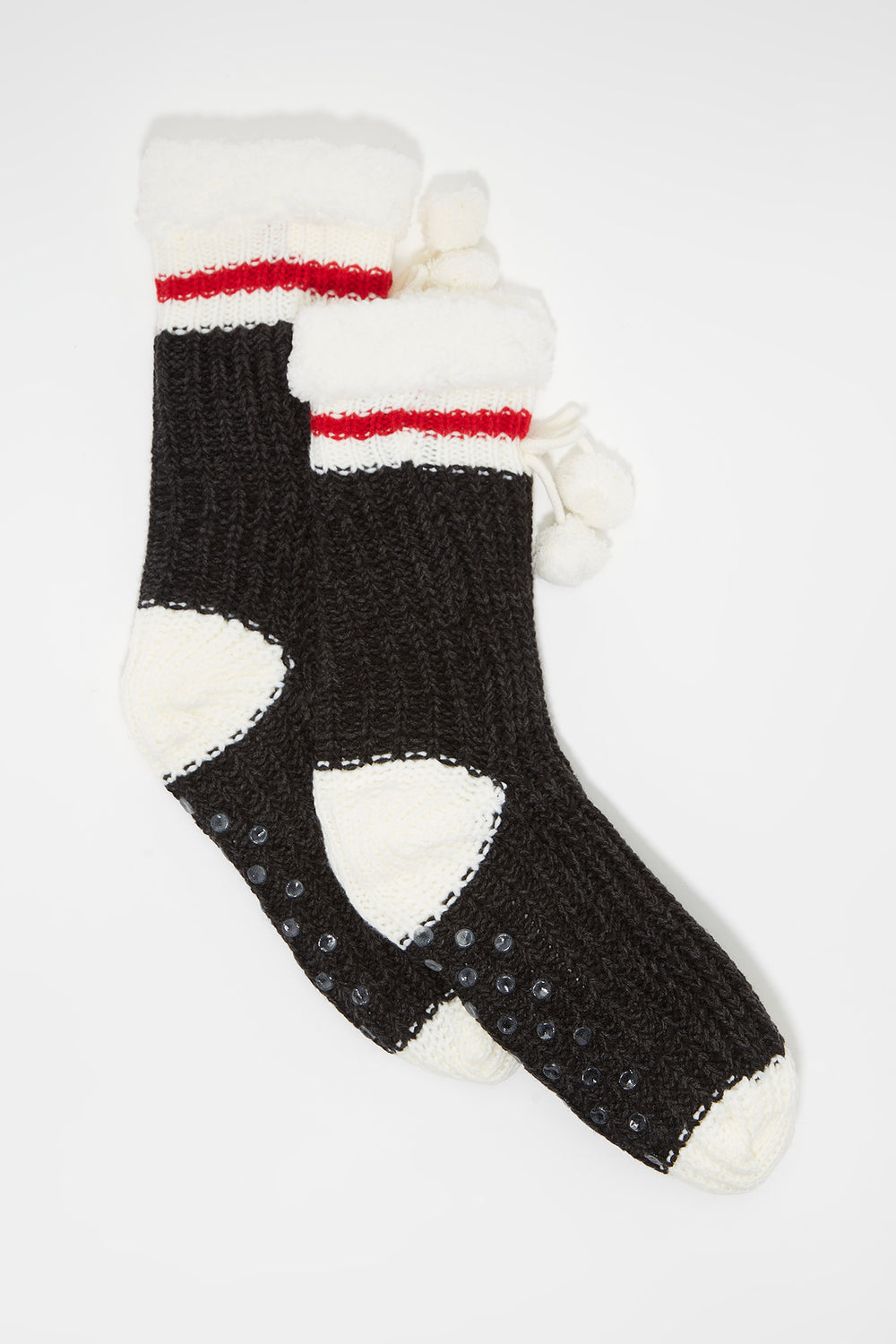 Knit Sherpa Single Stripe  Sock Charcoal