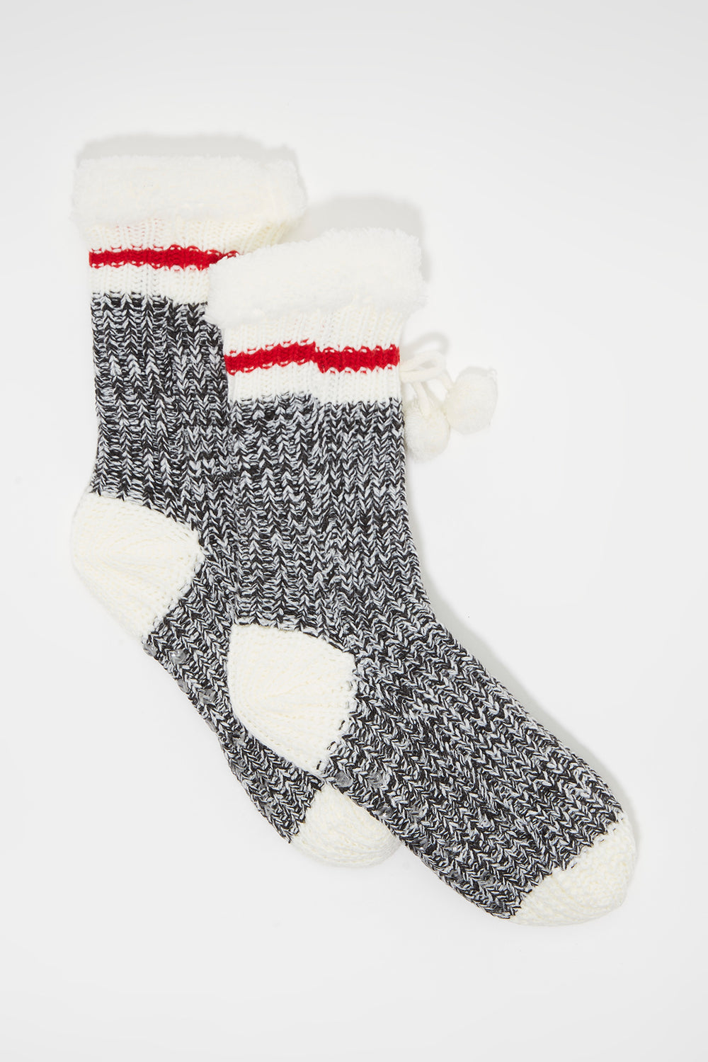 Knit Sherpa Single Stripe  Sock Light Grey