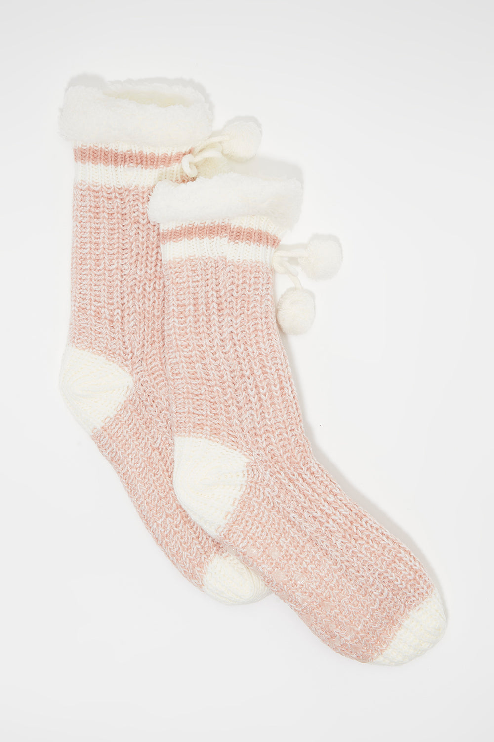 Knit Sherpa Single Stripe  Sock Rose