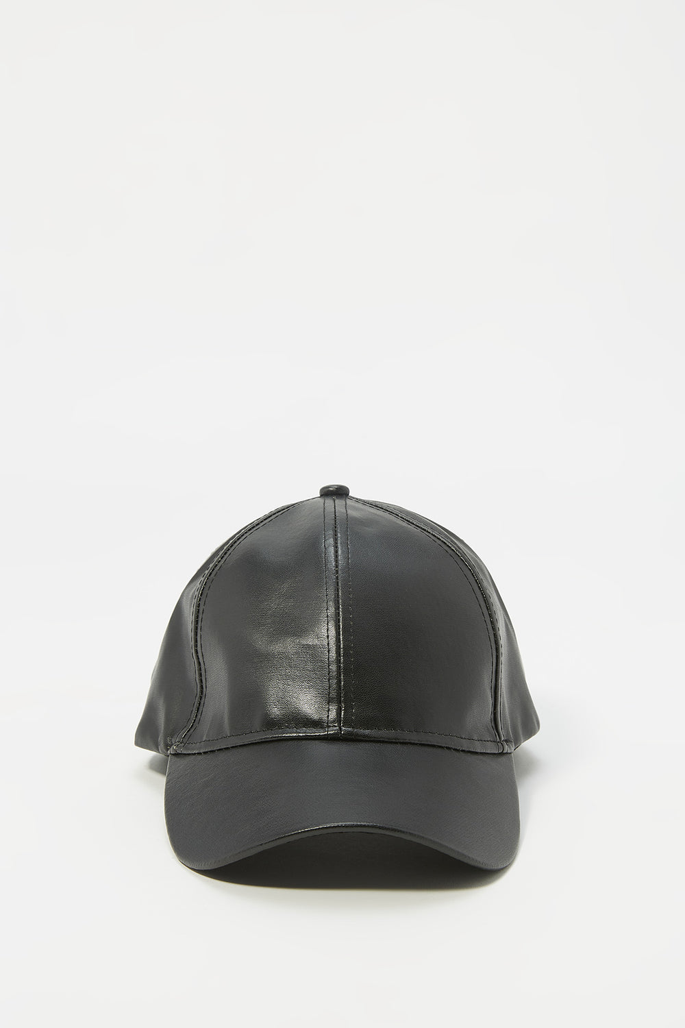Faux-Leather Dad Baseball Cap Black