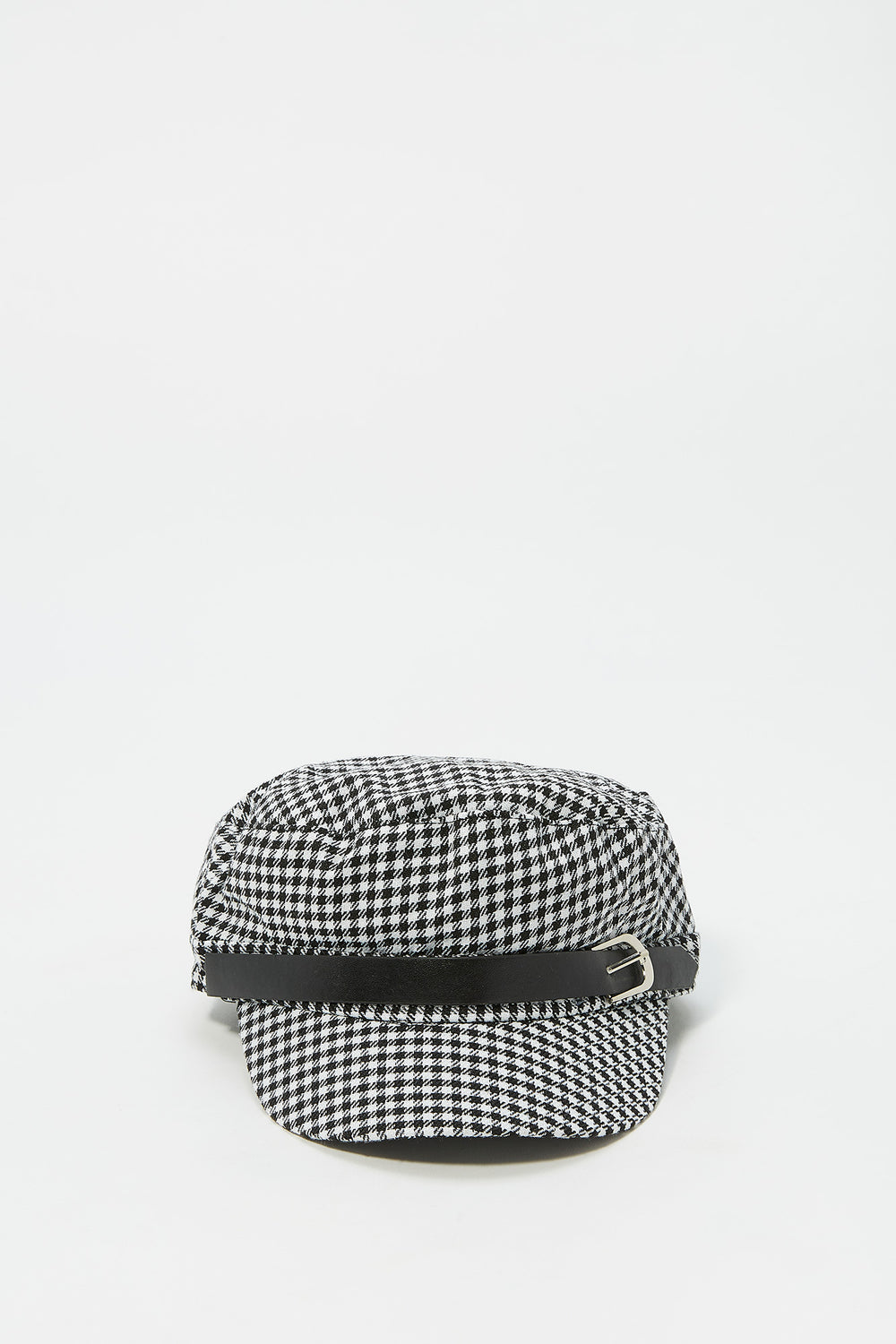 Printed Baker Boy Buckle Band Hat Black with White