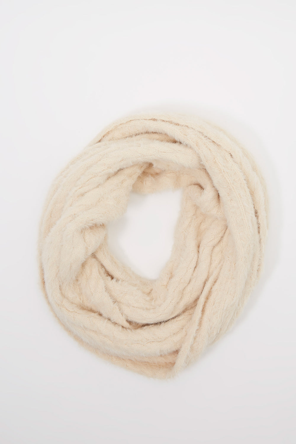 Ribbed Brushed Infinity Scarf Off White