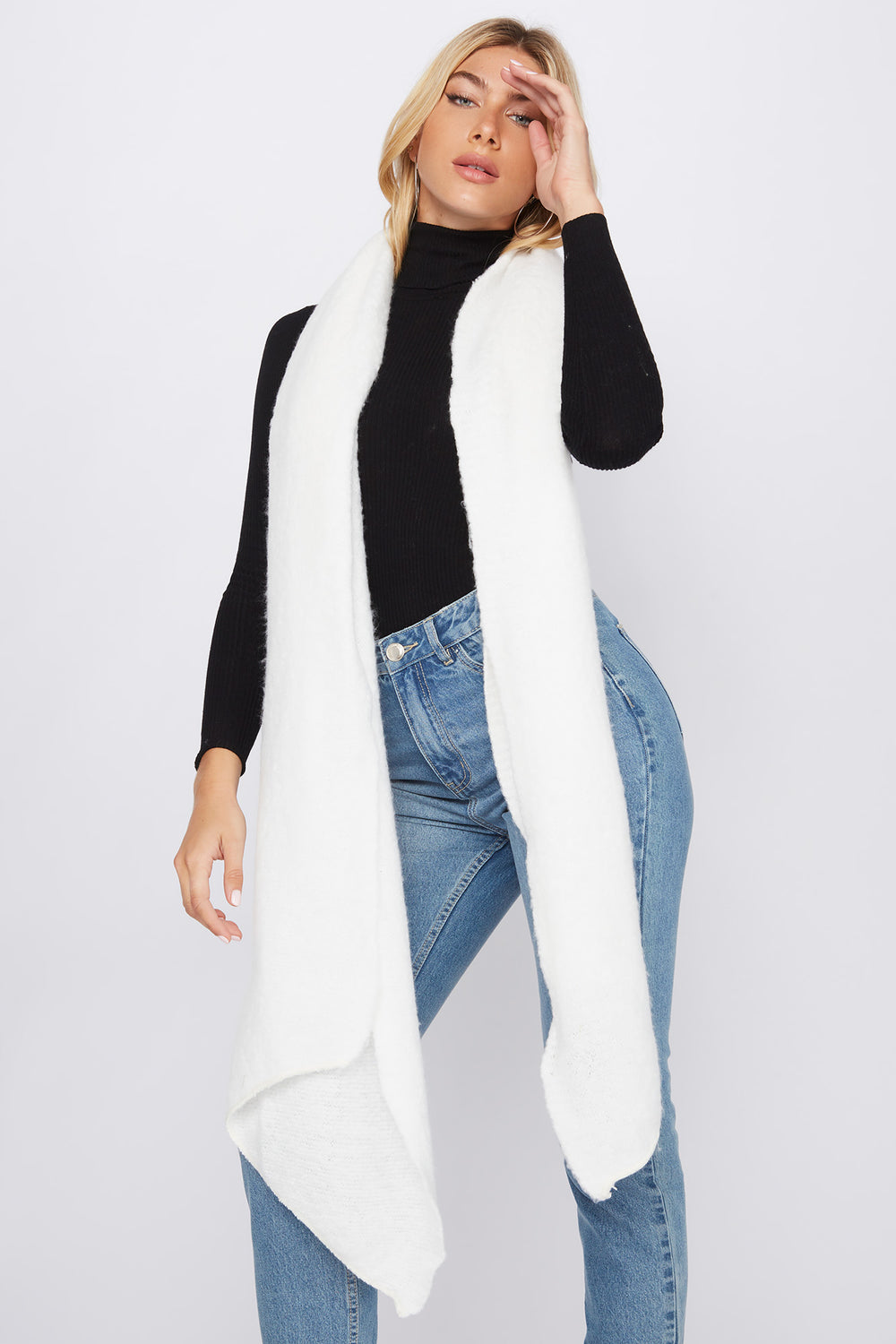 Brushed High-Low Scarf White