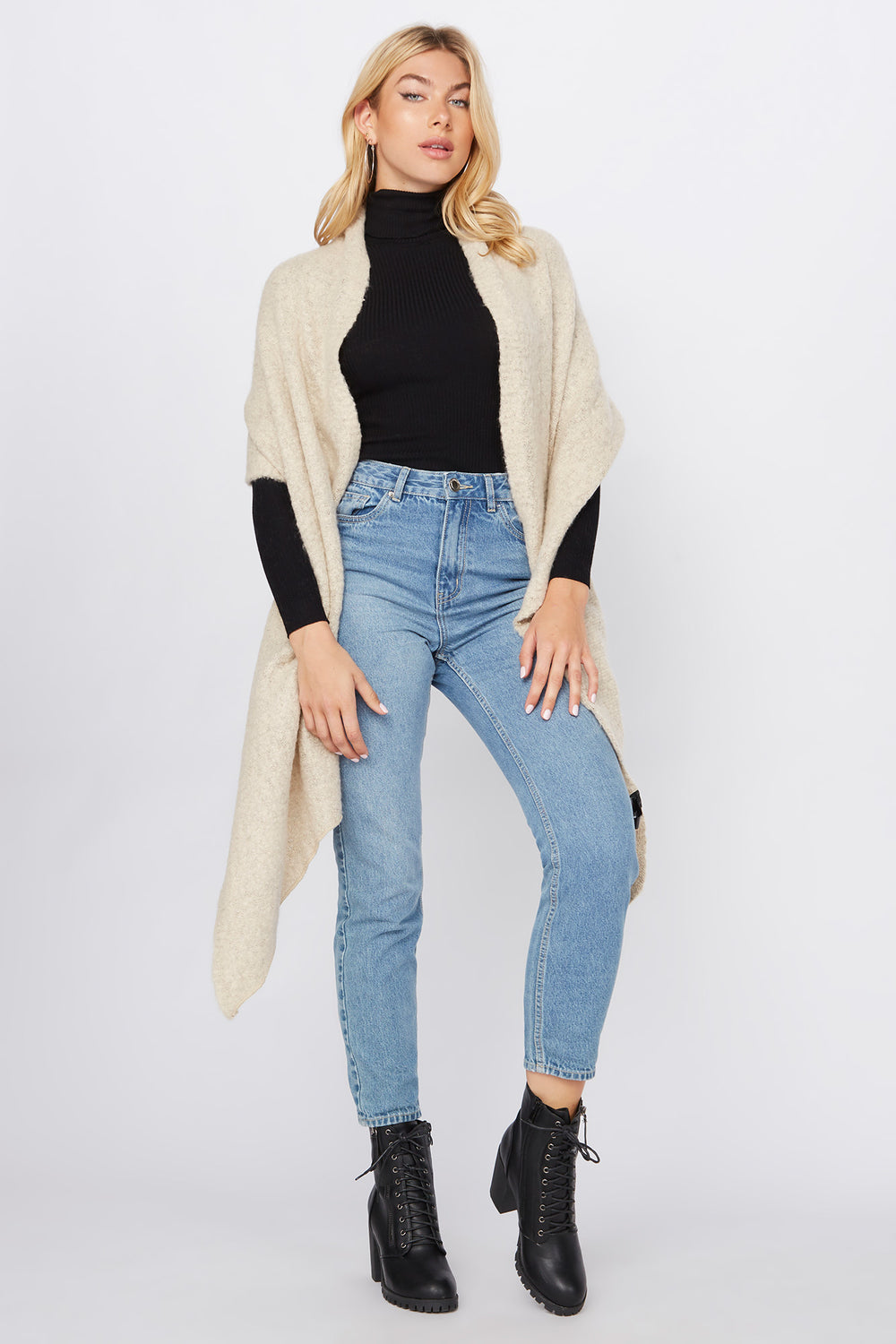 Brushed High-Low Scarf Oatmeal
