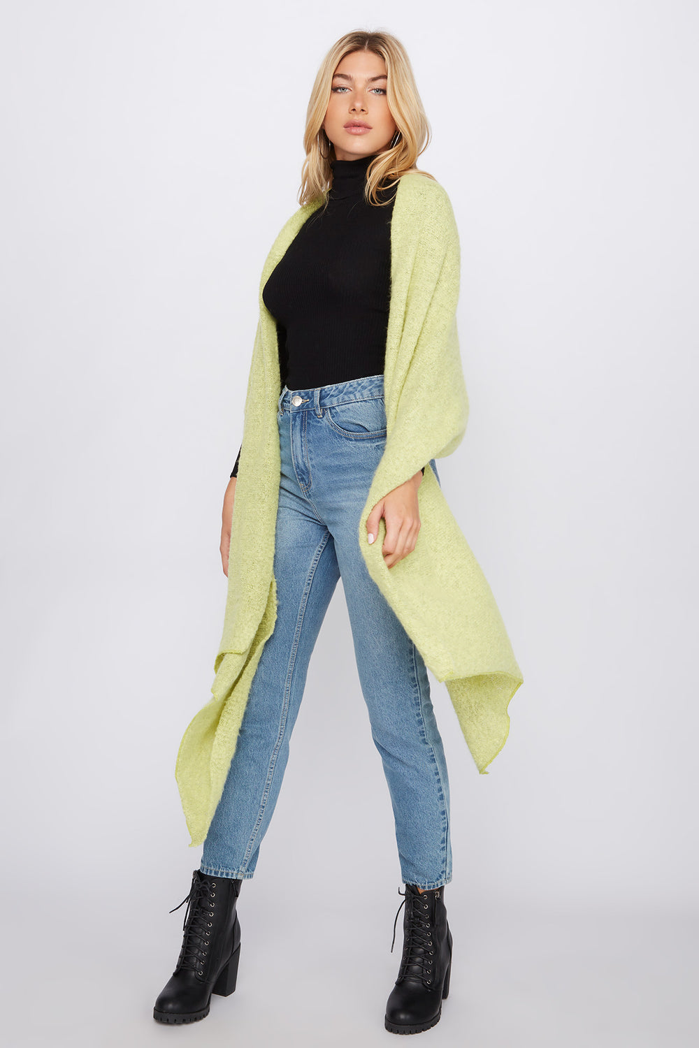Brushed High-Low Scarf Neon Yellow