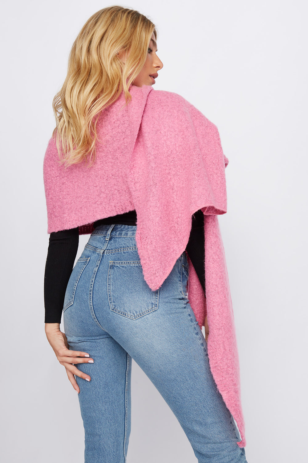 Brushed High-Low Scarf Neon Pink