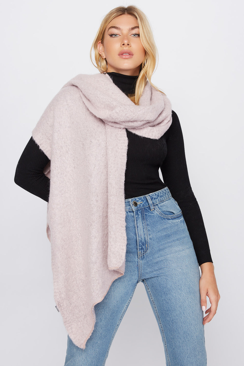Brushed High-Low Scarf Rose