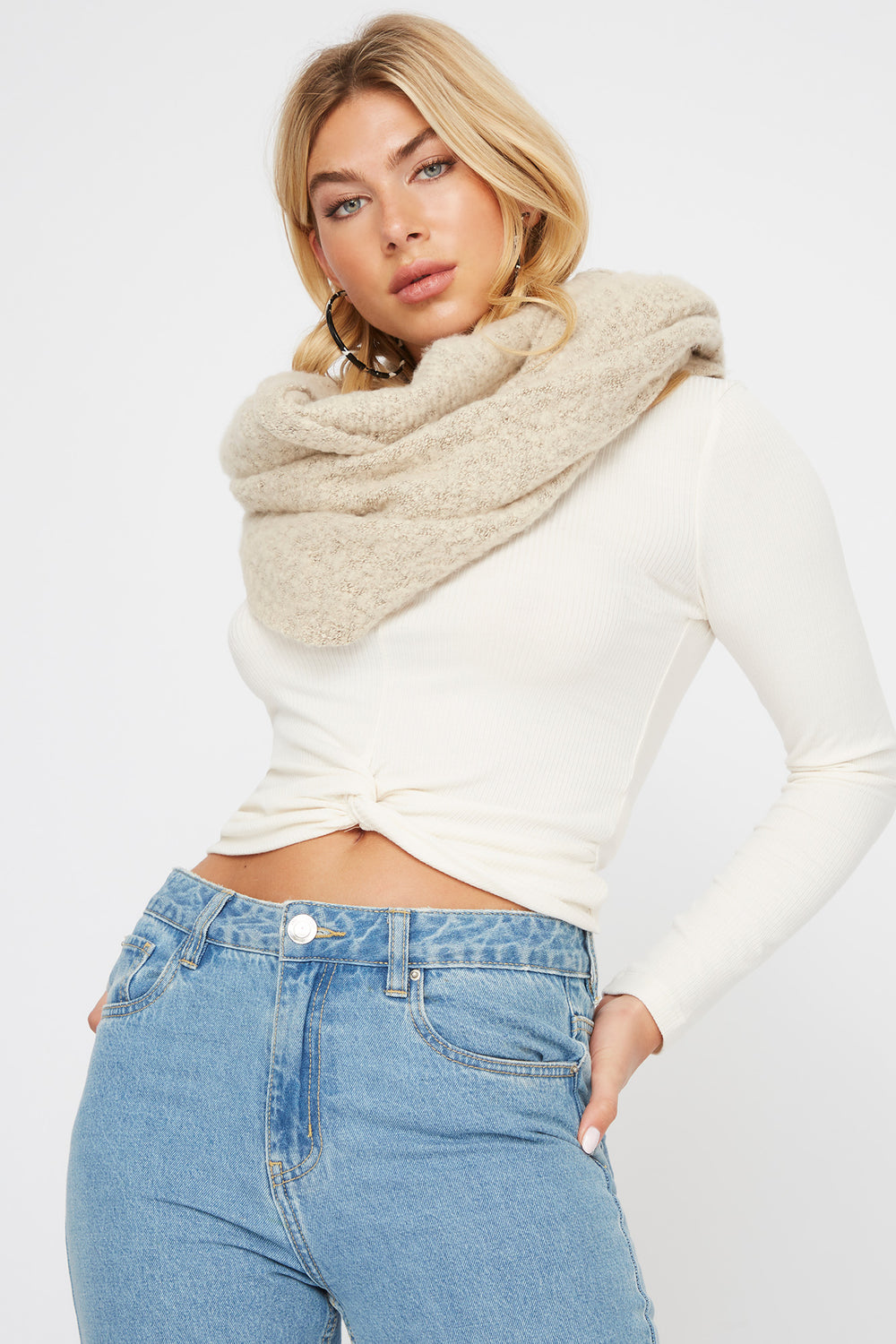 Soft Brushed Infinity Scarf Oatmeal