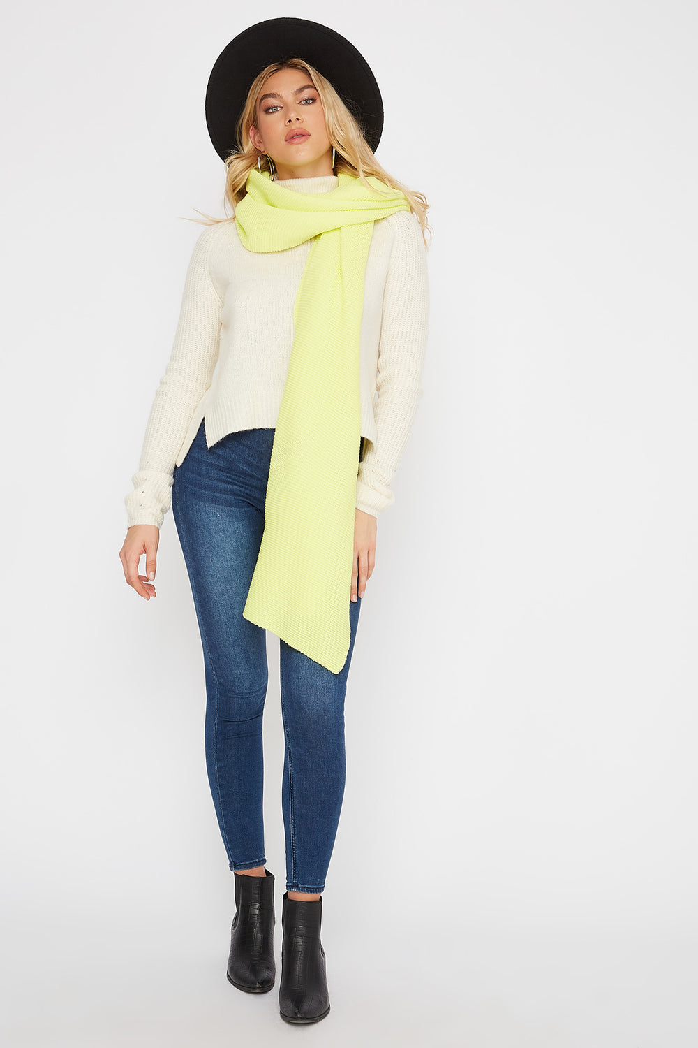 Knit Scarf Neon Yellow