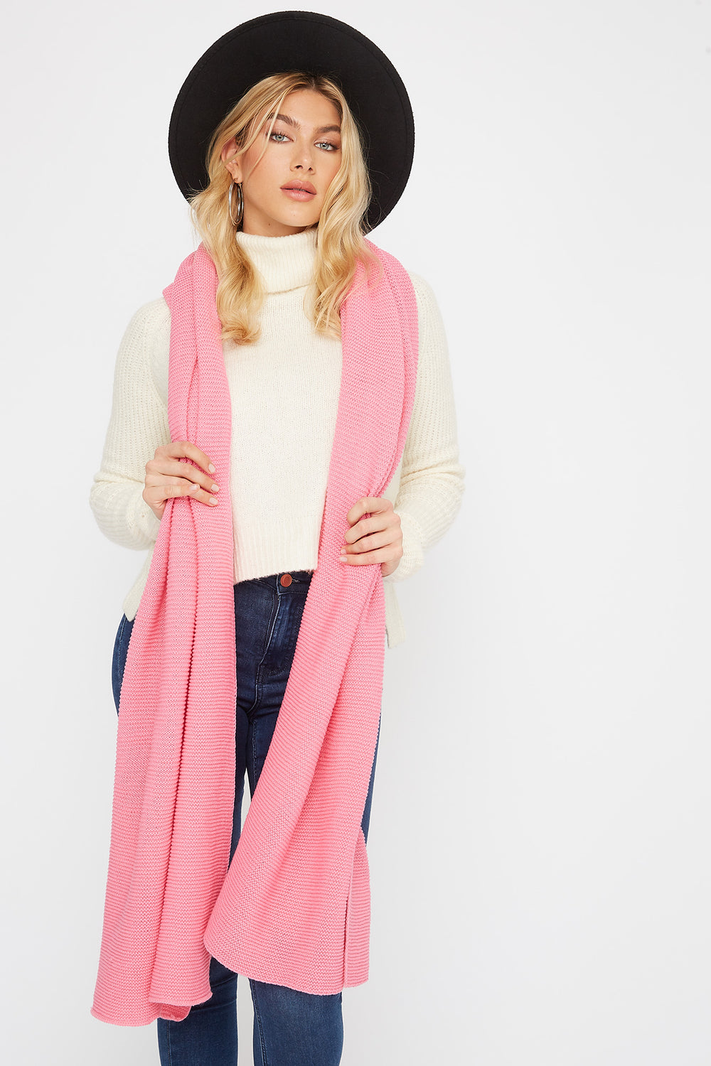 Knit Scarf Neon Pink