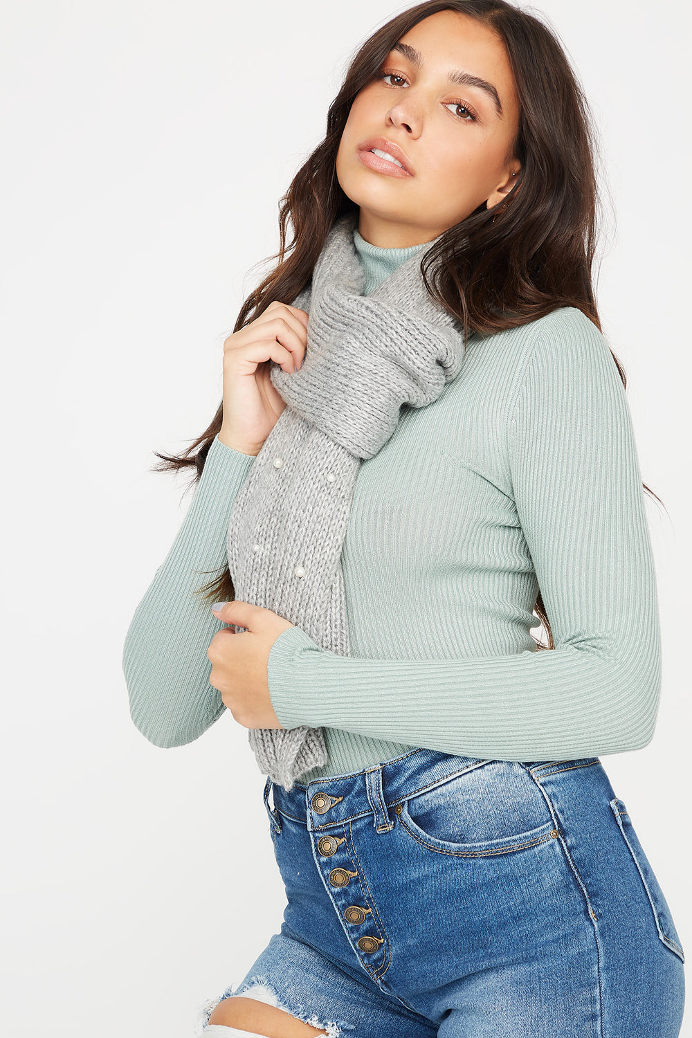 Ribbed Knit Pearl Scarf Heather Grey