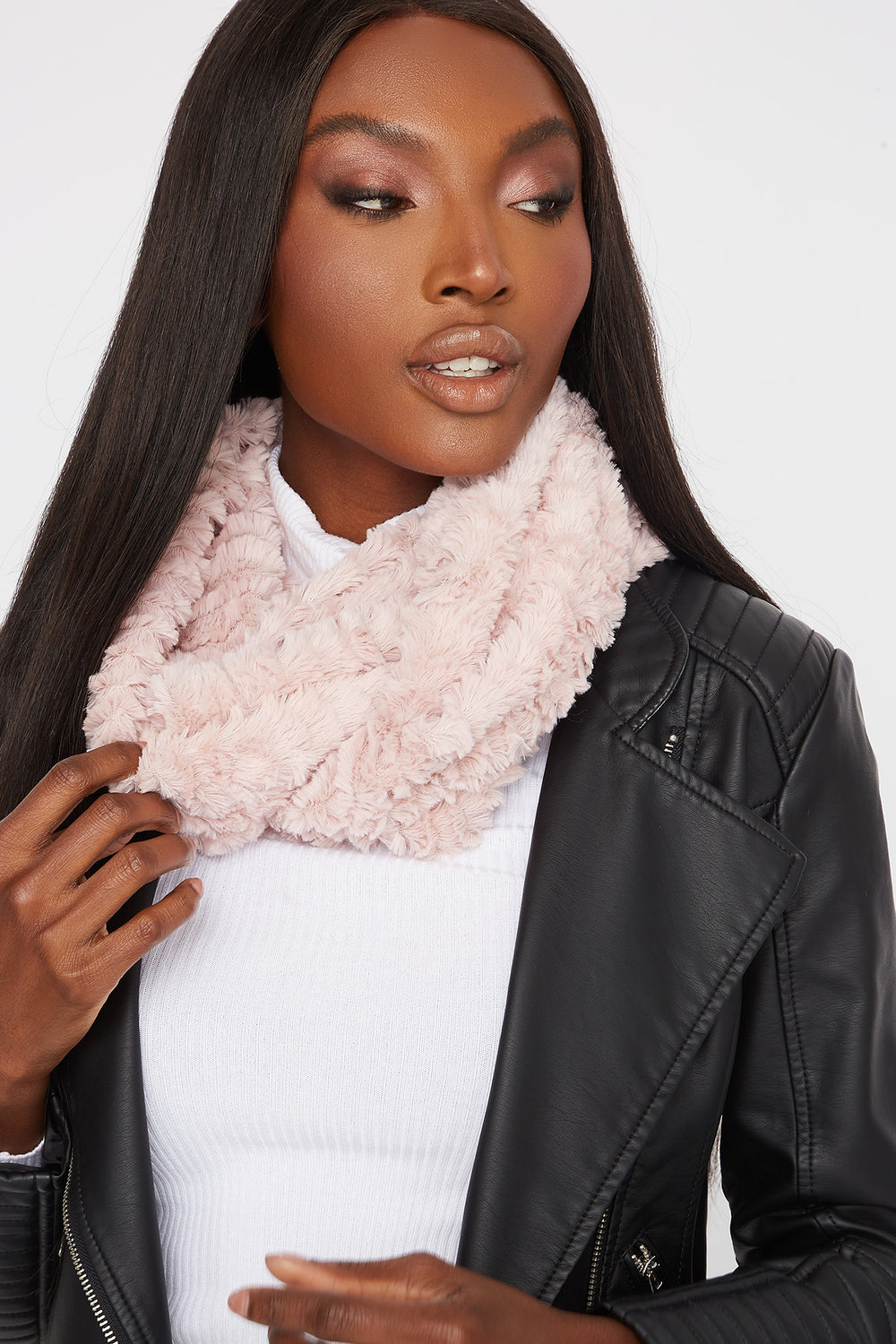Soft Faux-Fur Infinity Scarf Rose