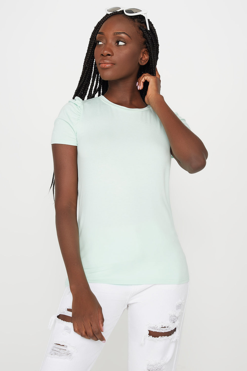 Puff Sleeve T-Shirt Aqua