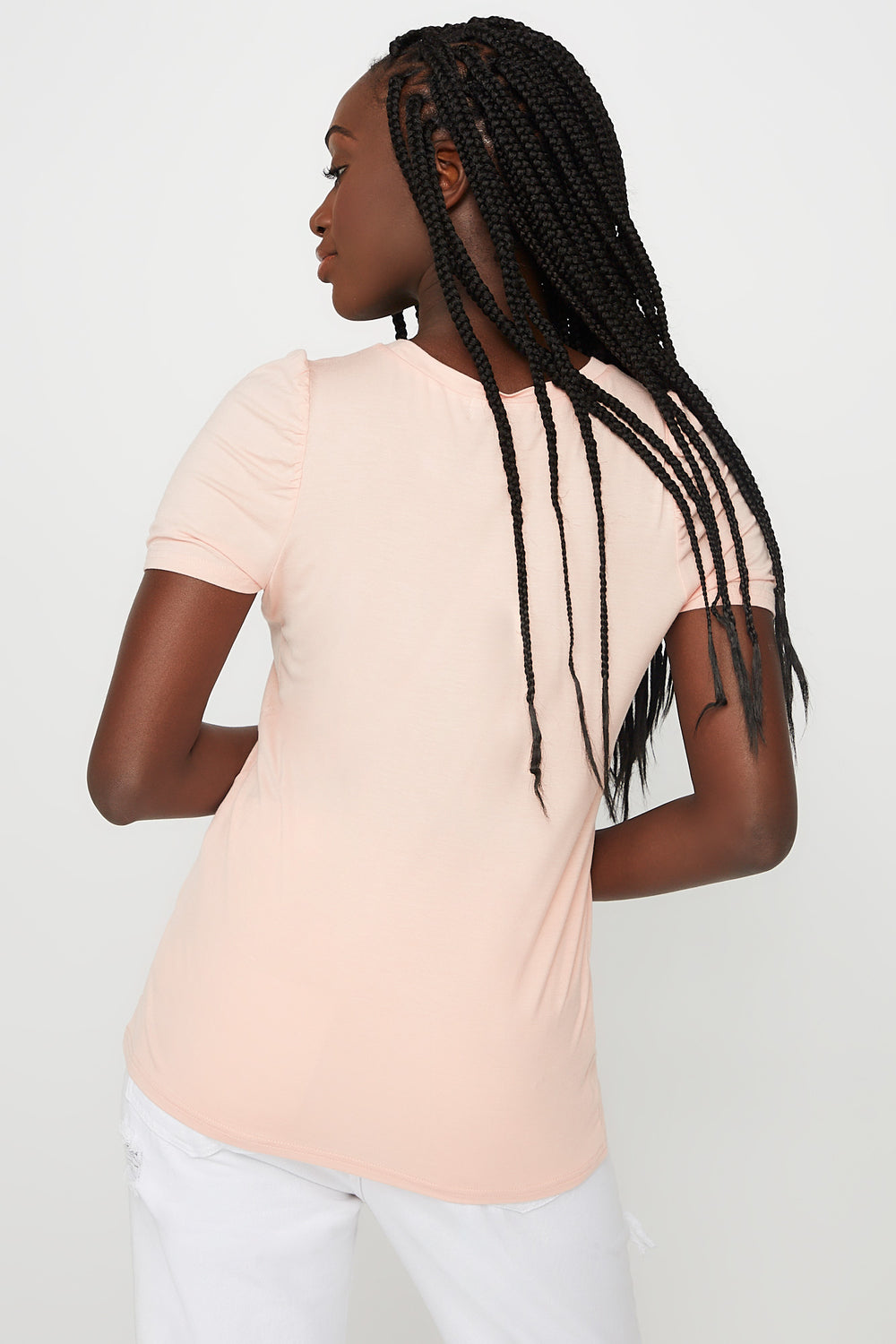 Puff Sleeve T-Shirt Peach