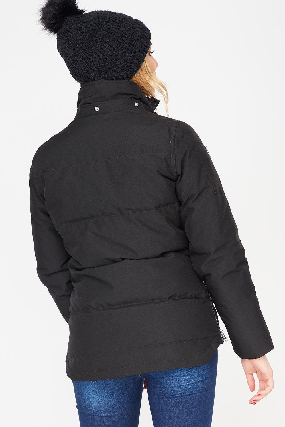 Faux-Fur Feather & Down Zip-Up Puffer Jacket Black