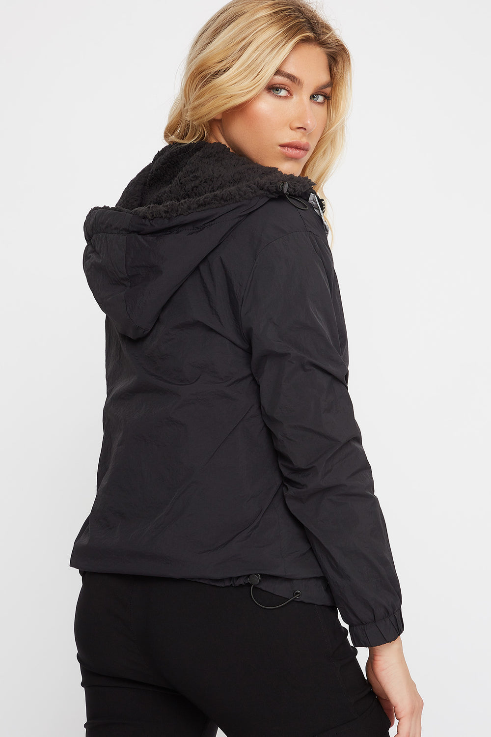 Sherpa Popover Hooded Windbreaker Jacket Black
