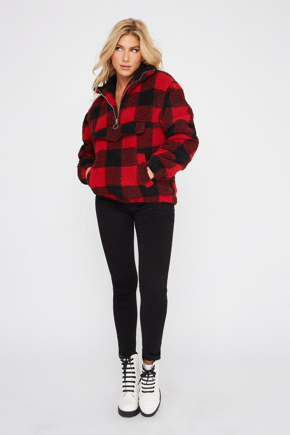 Sherpa Half-Zip Plaid Pullover Jacket Red