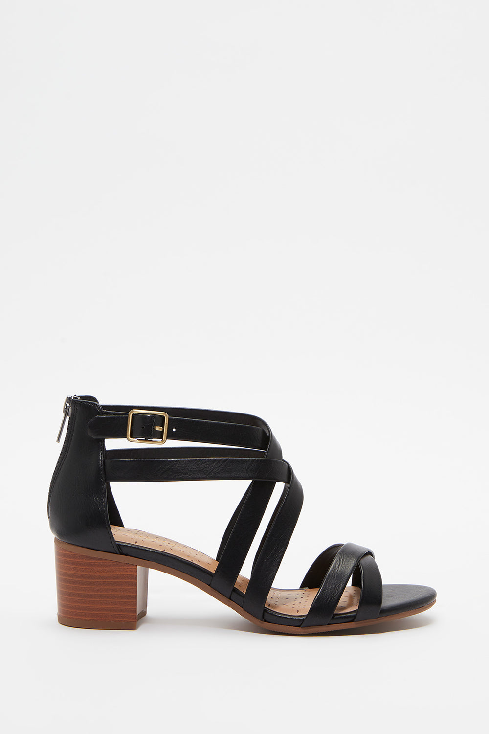 Criss Cross Open-Toe Block Heel Sandal Black