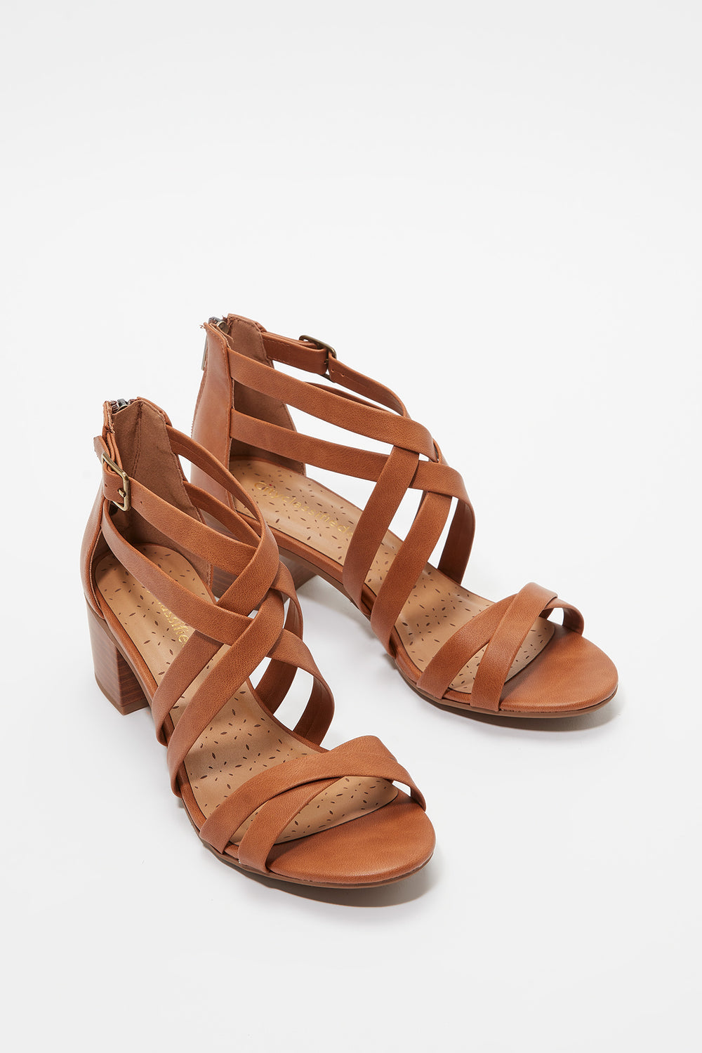 Criss Cross Open-Toe Block Heel Sandal Tan