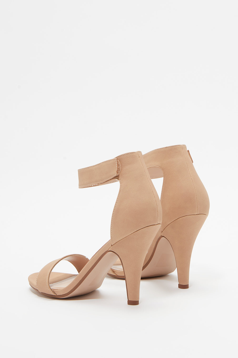 Single Band Open-Toe Mid Heel Sandal Natural