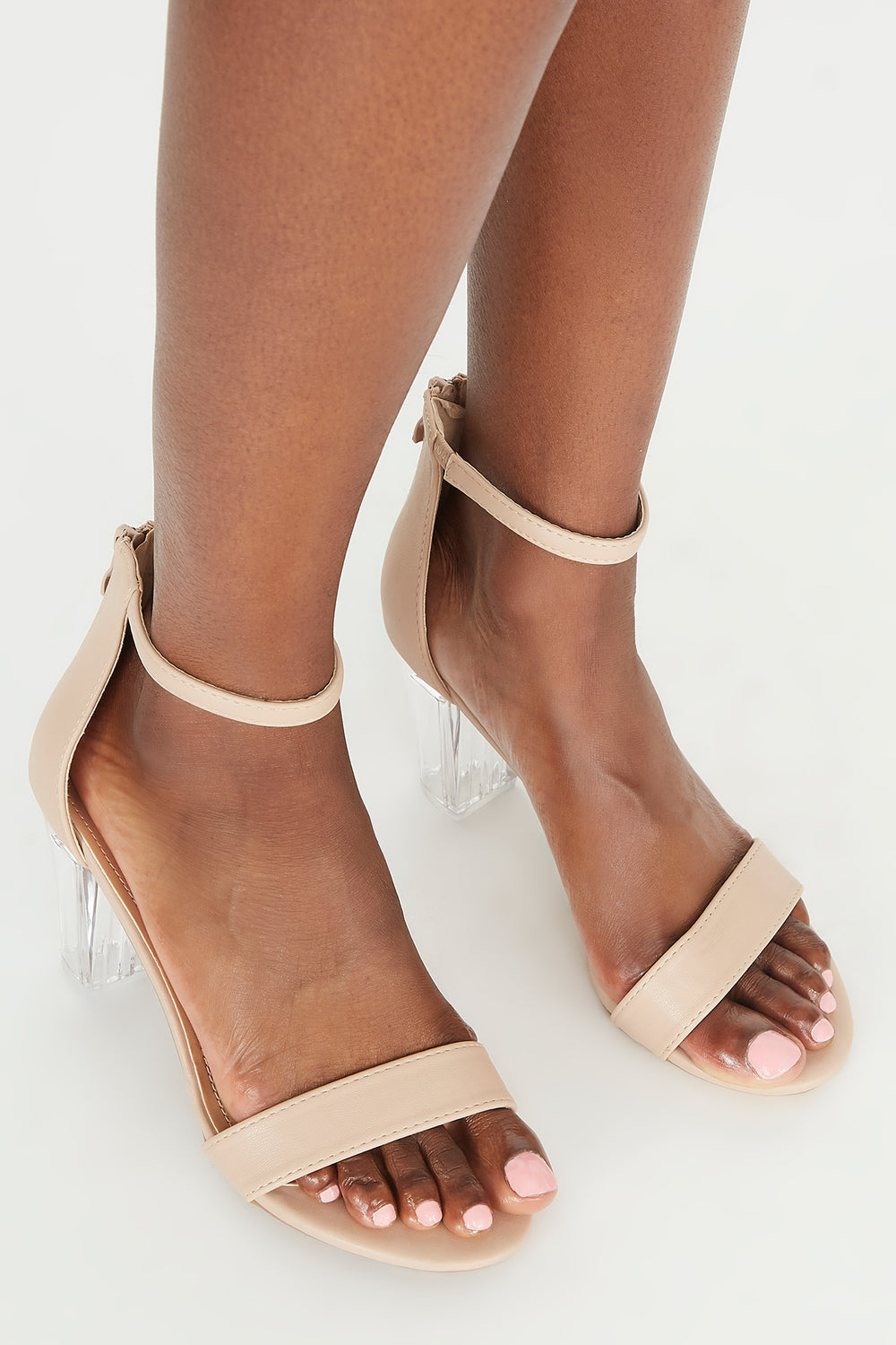 Open-Toe Clear Block Heel Sandal Natural