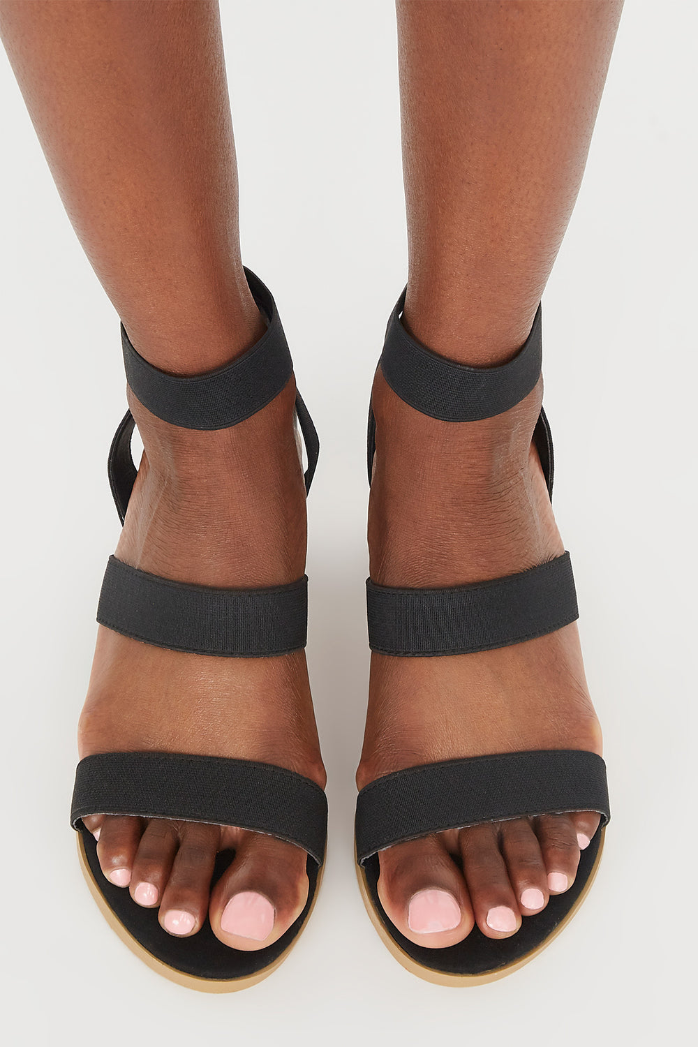 Triple Band Mid Block Heel Sandal Black