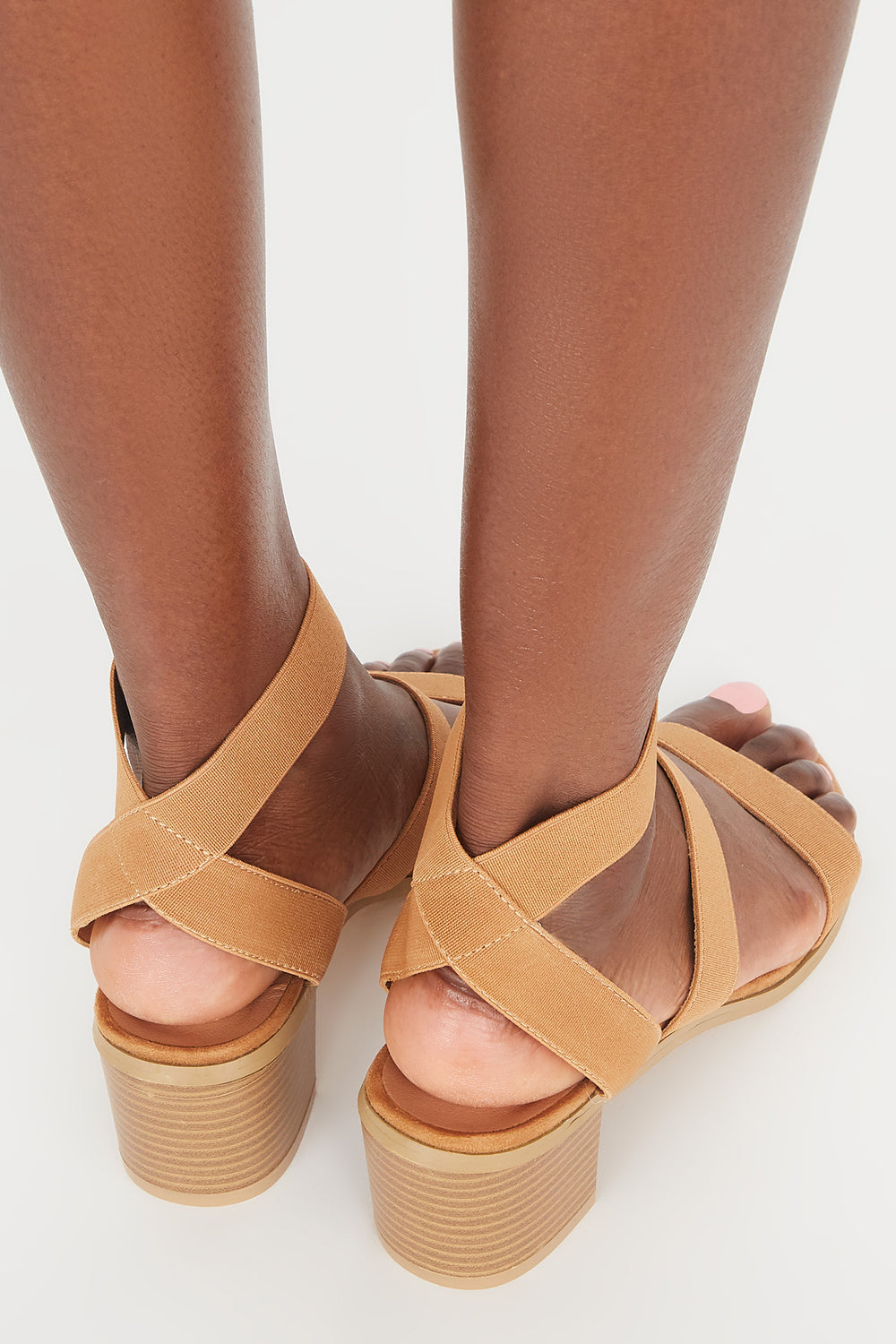 Triple Band Mid Block Heel Sandal Tan