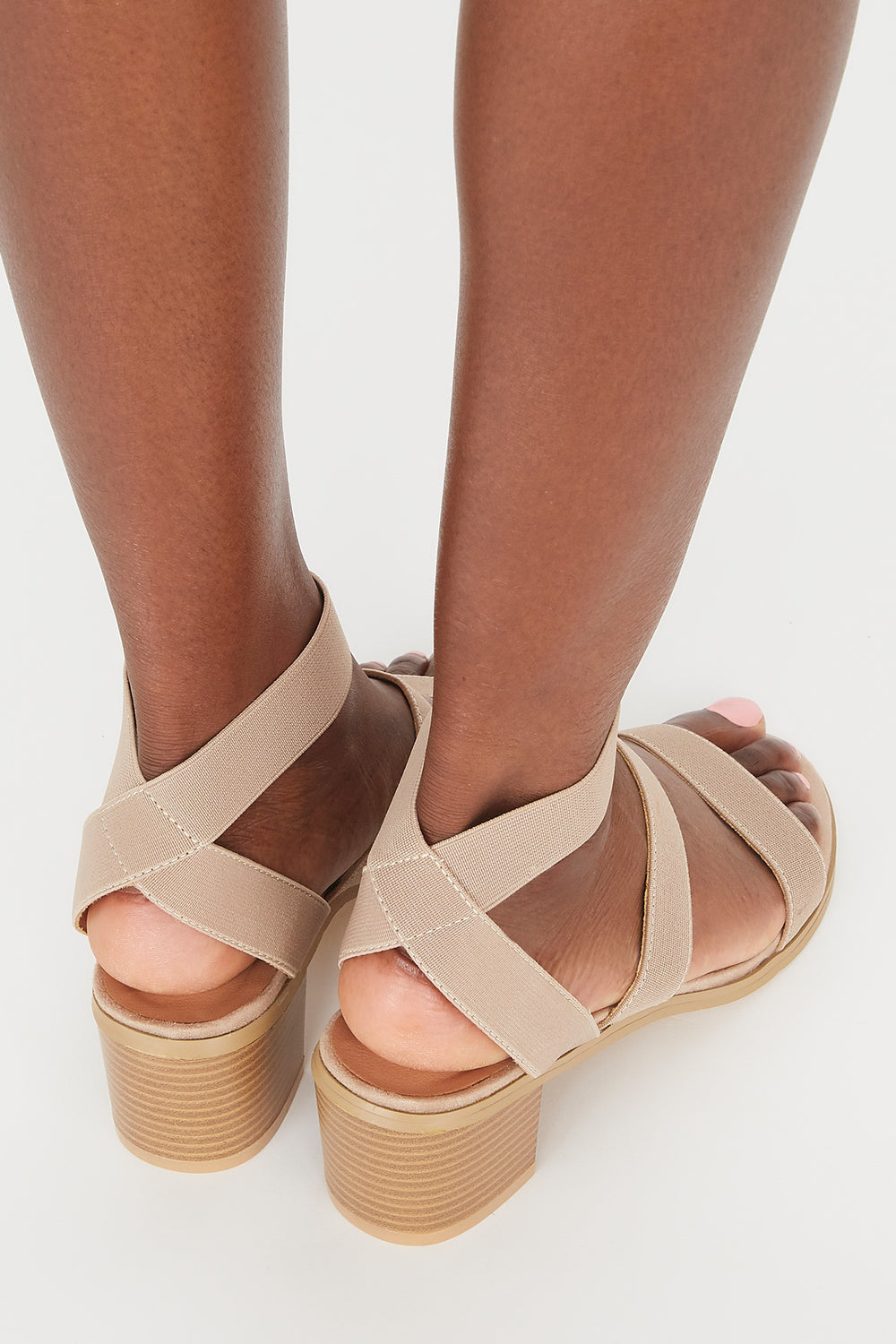 Triple Band Mid Block Heel Sandal Taupe
