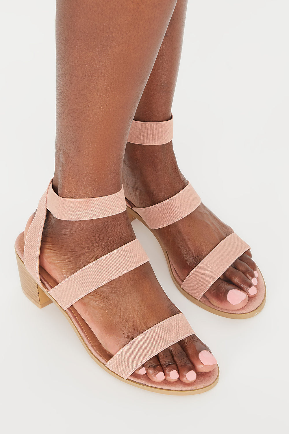Triple Band Mid Block Heel Sandal Light Pink