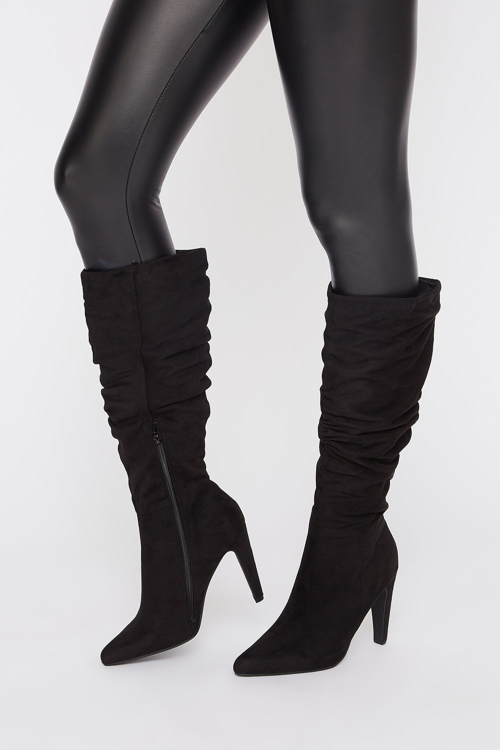 Ruched Mid Calf Heel Boot Black