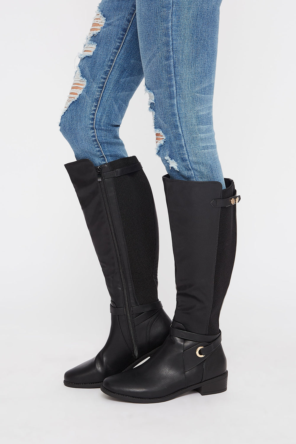 Gore Faux-Leather Knee High Boot Jet Black