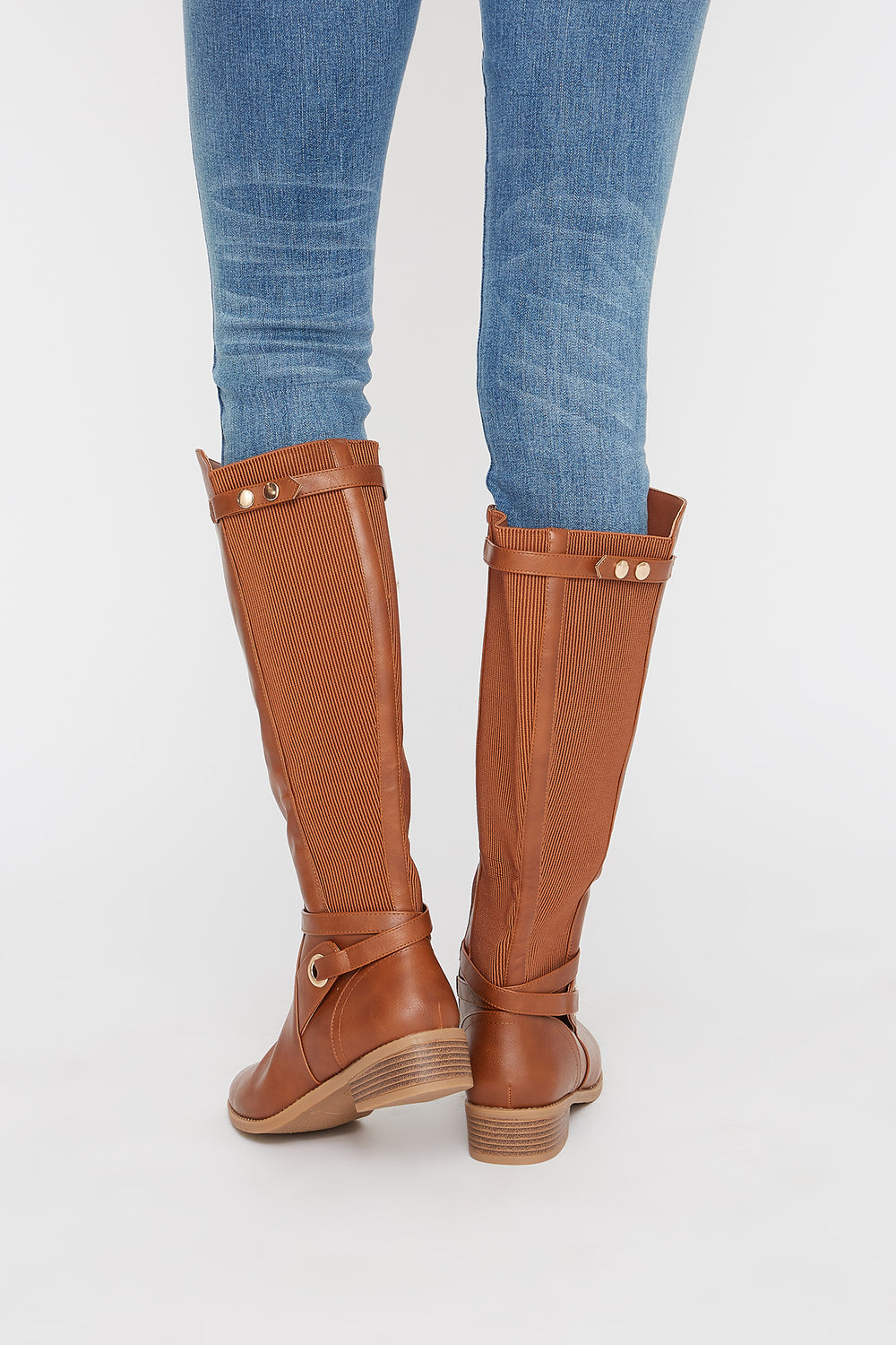 Gore Faux-Leather Knee High Boot Camel