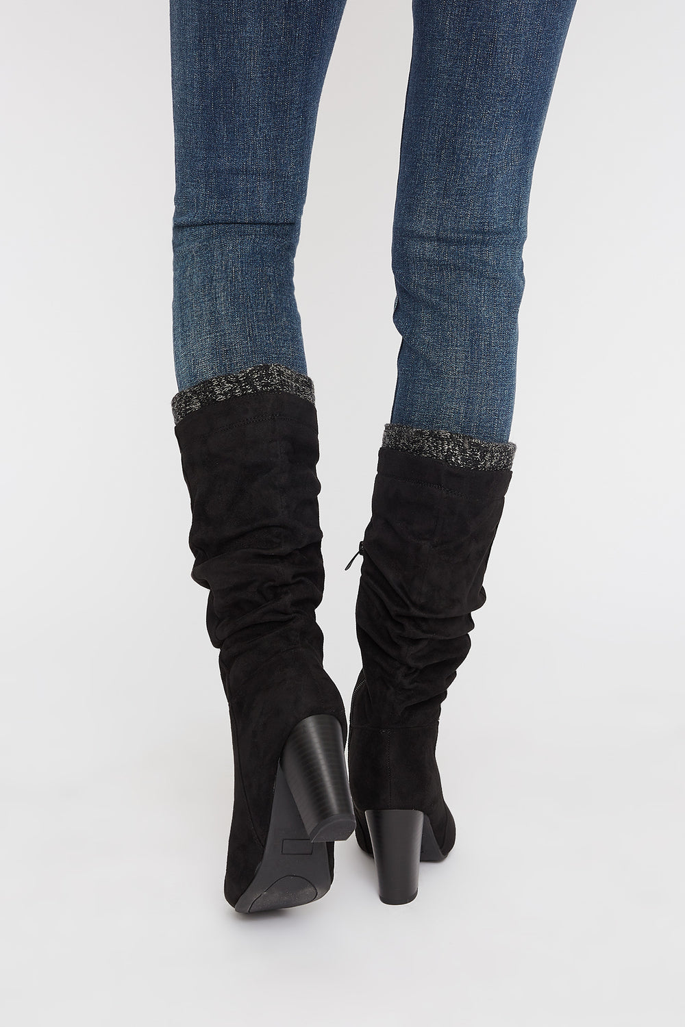 Ruched Knit Mid Calf High Heel Boot Black