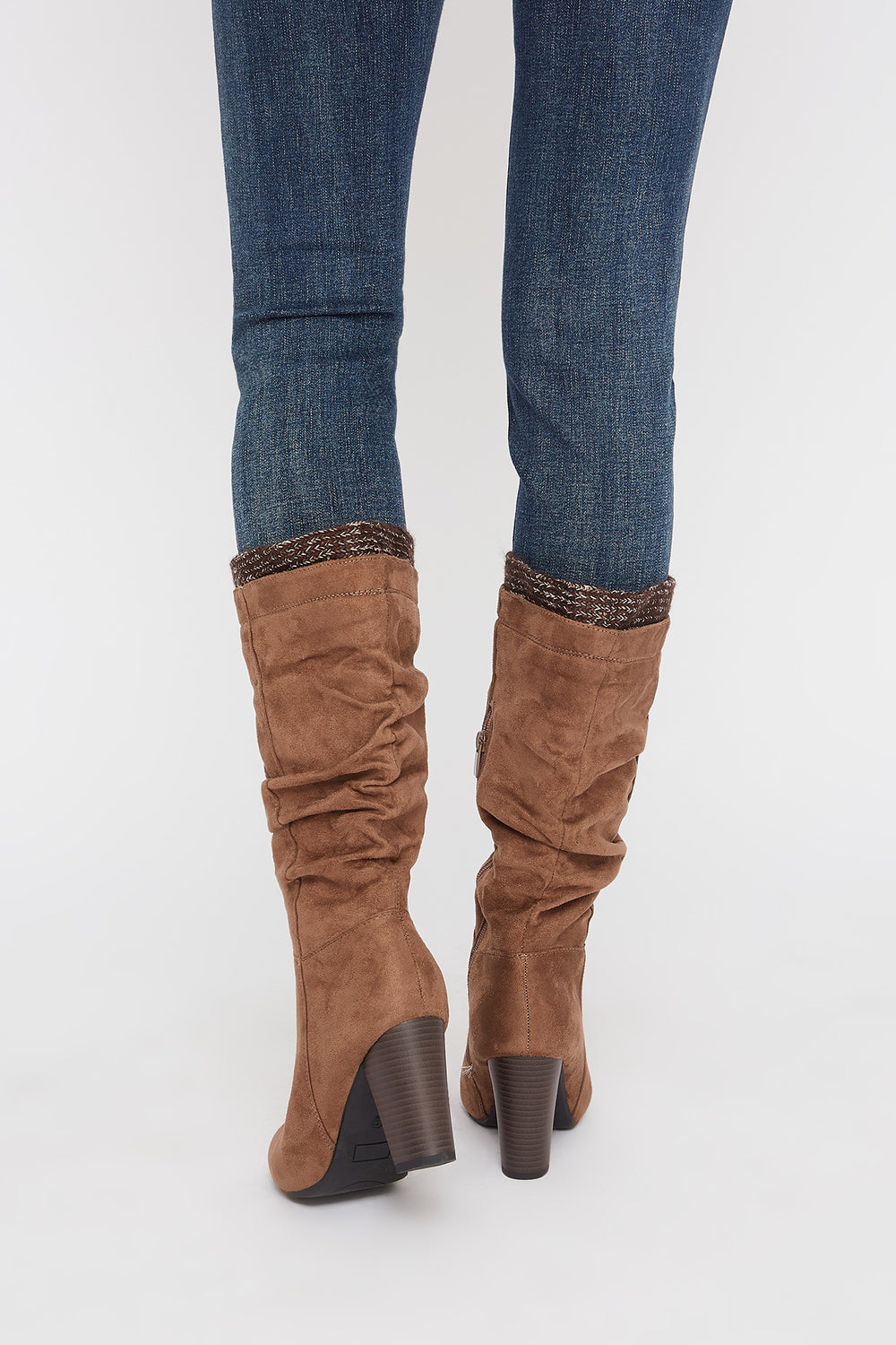 Ruched Knit Mid Calf High Heel Boot Taupe