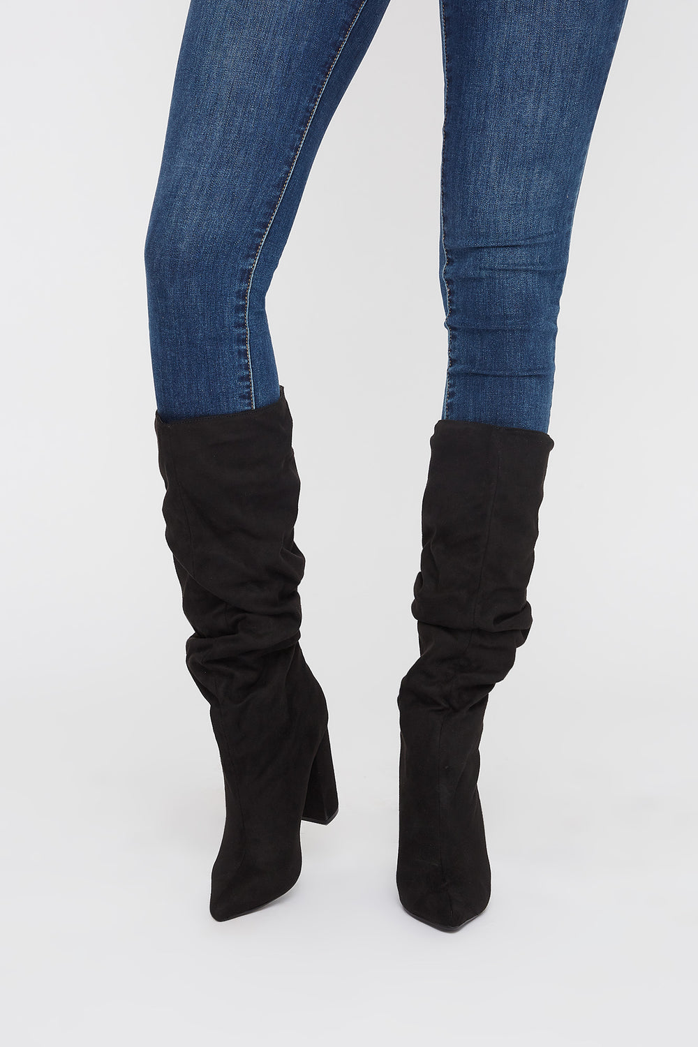 Pointed Ruched Heel Knee High Boot Black
